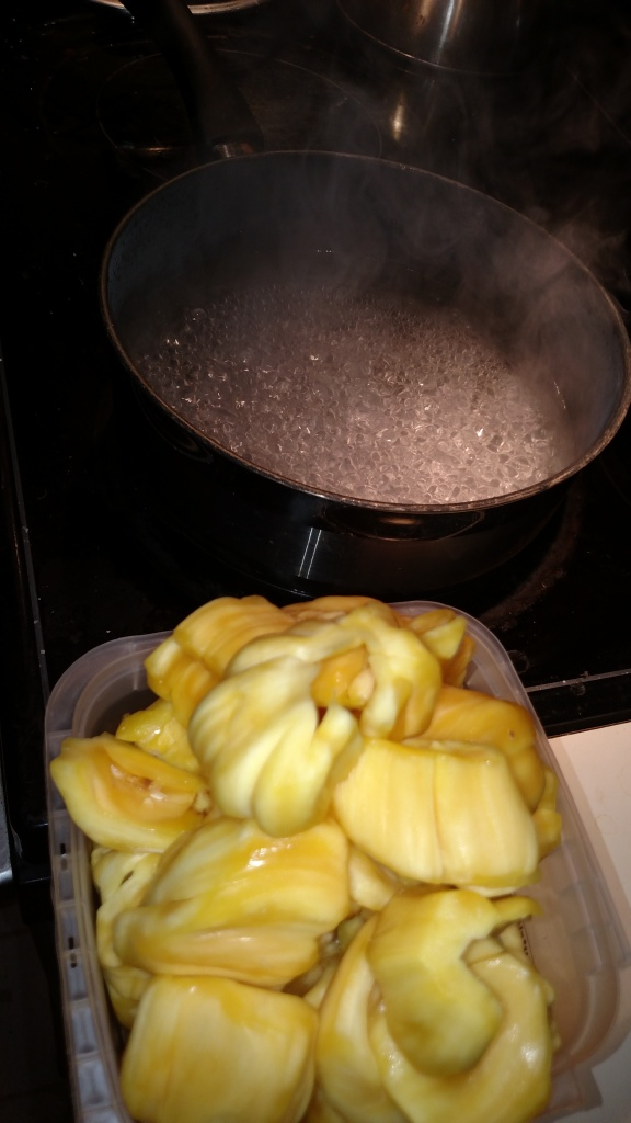 Making syrup...and prepared jackfruit